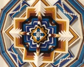 Another version of Sacred Space, a 24 inch   Ojo de Dios,  IN STOCK, ready to ship.