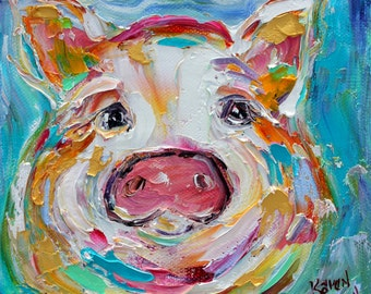 Little pig painting original oil 6x6 palette knife impressionism on canvas fine art by Karen Tarlton