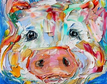 Pig painting original oil 6x6 palette knife impressionism on canvas fine art by Karen Tarlton