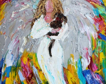Angel and Dog painting original oil abstract impressionism fine art impasto on canvas by Karen Tarlton