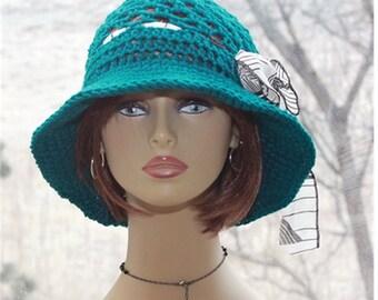 Crochet Hat,  Womens Brim Hat, Womens Hat, Flapper  Hat, Bohemian Style, Sun Hat,  Brim Hat, Summer Lace Hat, Teal  Hat,  Womens Hats