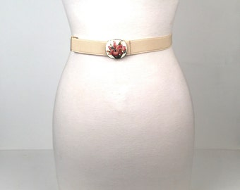 Vintage 1980s Ivory Stretch Belt with Cloisonné Buckle
