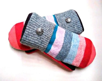 Color Stripe Mittens, colorful mittens, red, blue, gray, medium mittens, recycled sweaters, women's mittens, fleece lined mittens