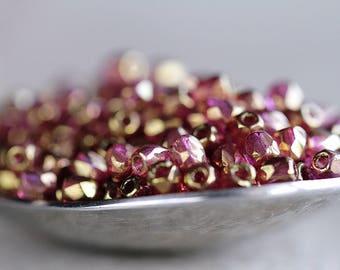 3mm Round Czech Glass  Beads, Fire Polished beads, Lilac with Metallic Gold Finish 3mm (100pcs) NEW
