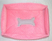 Pink Minky Puppy Doggie Bed Personalization Available