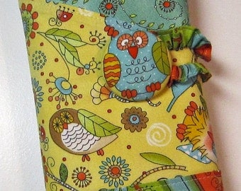 Owl Crochet Hook Case - Tree Hugger - Roll Organizer - Sewn in Notions Pocket - Magnetic Snap Closure - Yellow Aqua and Orange
