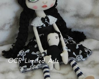 Take an extra 35% off WEDNESDAY & her Doll Gothic primitive folk art Doll OOAK Dark  Emo collectable Big eyes enchantic Creepy Cute