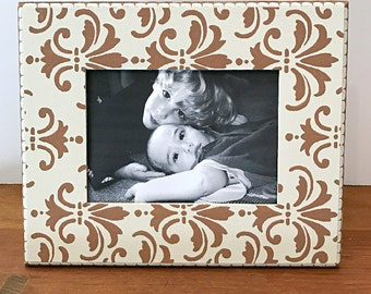 Cream and Taupe 5X7 Hand Painted Picture Frame, Tabletop Picture Frames, Custom Frames, Picture Frame Grouping, Damask, Modern Home Decor