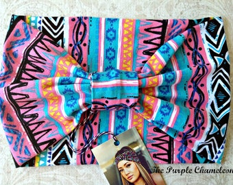 Pink Turquoise and Black Tribal Print Turban WRAPSody Yoga Wrap Stretch Headwrap Runner Headwrap Headcover Chemo Cover