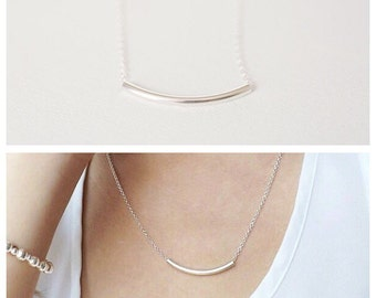 Curved Bar necklace, bar necklace , Silver necklace, Thin necklace, dainty silver Necklace, curved bar necklace, Minimalist necklace, bar