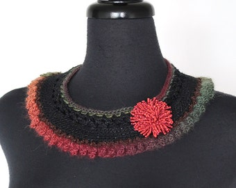 Black Green Khaki Brown Mustard Berry Orange Coral Color Statement Crochet Collar Necklace Choker Bib with Bead Flower Brooch