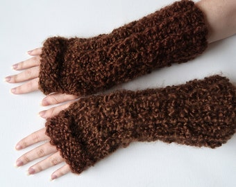 Dark Brown Sienna Coffee Beans Color Fingerless Gloves Knitted Chunky Wristlets Armwarmers