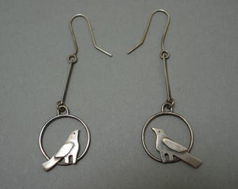 Bird in Circle Earrings