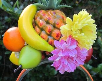 Tropical Fruit - Pineapple - banana - pear -orange -lemos - apple - yellow and pink flowers - Headband - Carmen Miranda style -