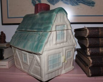 Cottage Cookie Jar - Aqua & Cream w/ a Red Chimney - Brush McCoy USA