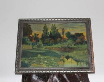 Pastoral Pond Sunset Old Lithograph Wood Frame - Nature Farmhouse Cottage Decor -  Azure, Greens, Oranges