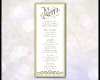 Art Nouveau Menu / Mucha / Gatsby Wedding / Art Deco / Coral & Green / Matching Invitation Suite Available / Self Print