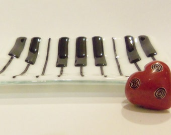 Piano Keyboard Fused Glass Dish // Trinket // Candy // Soap // Small // Gift // Teacher // Music // Musician //  Organ // Fathers Day //Cute