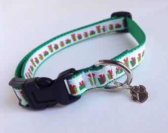 SMALL Christmas presents Holiday Dog collar