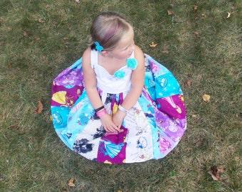 Princess Dress:  patchwork twirly dress, belle, elsa, anna, cinderella, villains, sofia, aurora, lace, birthday, meet and greet