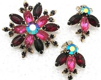 Vintage Judy Lee Unsigned Brooch And Earrings Set Red & Pink Floral Rhinestone