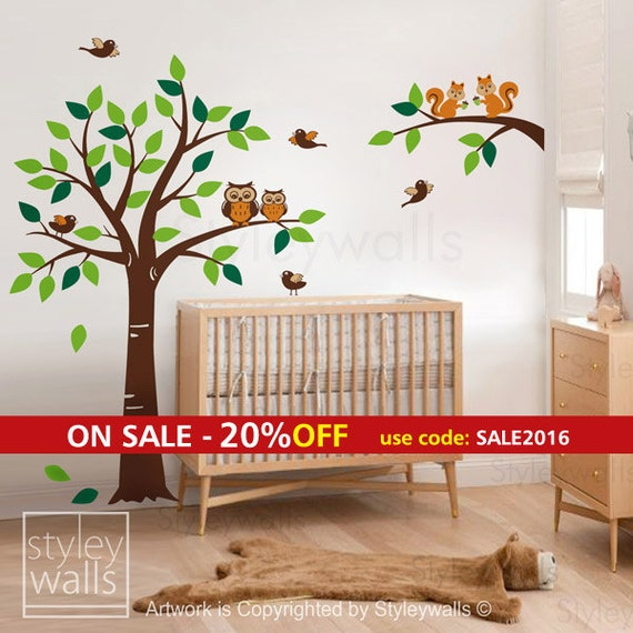 forest animals tree wall decal woodland wall decal by styleywalls. Black Bedroom Furniture Sets. Home Design Ideas