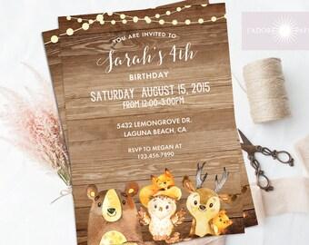 Woodland Birthday Invitation, Woodland Invite, Birthday Invitation, Printable Invite, DIY, Rustic Invitation,Fox, Bear, Owl, jadorepaperie