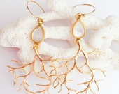 Gold Coral Branch and Mother of Pearl Earrings