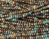 Size 10 Aged Picasso And Striped Seed Beads - Jewelry Making Supply - Beading Supplies - - (2 - 20 Inch Strands)