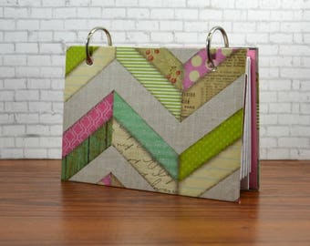 """Index card binder 3"""" x 5"""" or 4"""" x 6, multi chevron design for a recipe card holder or writing journal with a set of index card dividers"""