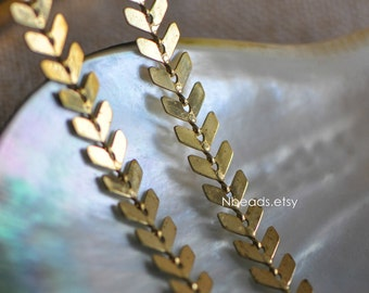 Unplated Raw Brass Designer Chain 6.5mm Arrow (#RB-034)/ 1 Meter=3.3ft