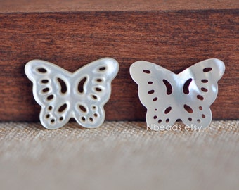10pcs White Mother of Pearl Butterfly Connector 19mm Shell Butterfly Charm Pendants, Hollow Cut Out Carvings -(V1260)