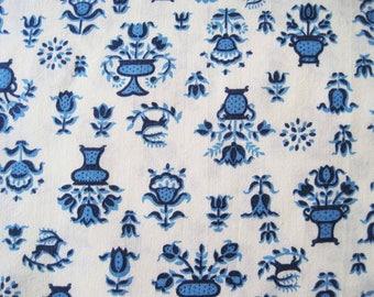 Vintage Cotton Blend Fabric Yardage Folk Style Floral Blue Yellow – 1 3/4 Yards