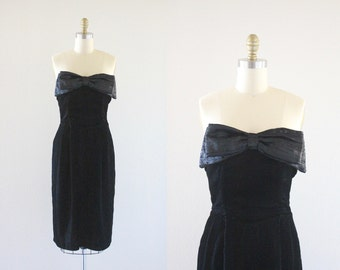 S A L E black velvet strapless wiggle dress