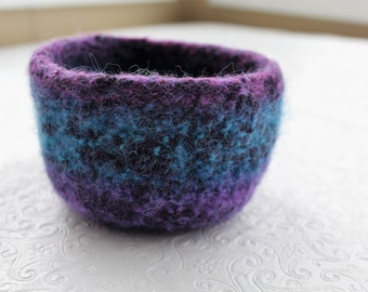 Purple Turquoise Wool Felted Bowl, Knit Felt Storage Bowl, Purple Felt Bowl, Blue Wool Felt Bowl,  Knit Felted Wool Bowl, Knit Felt Bowl