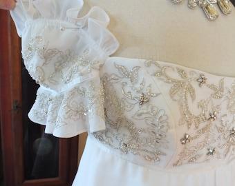 Beaded off shoulder Empire waistline wedding dress bridal gown sale price