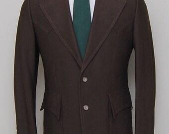 SALE 1970s men's brown western blazer/ 60s men's western blazer / Mount West
