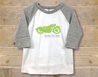 Motorcycle Boy's Shirt, Toddler Shirt, Bike Shirt, Cool, Born To Ride, Kid's Clothes, Trendy Shirt, Racing, Dirt Bikes, Harley