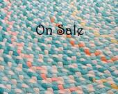 """60"""" aqua and natural braided nursery rug ON SALE"""