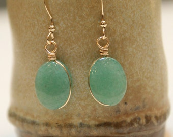 Green Aventurine Gemstone Gold Filled Handmade Minimalist Earrings