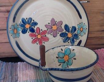 Wildflower garden ceramic serving plate - handmade pottery plate - pottery serving plate - ceramic shallow bowl - with cheese bowl - wlflpl5