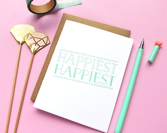 happiest ever after letterpress card