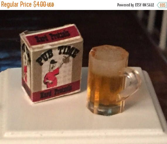 SALE Miniature Dark Ale Beer Mug and Pub Time Pretzel Box, Dollhouse 1:12 Scale, Home Decor, Accessories