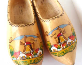 Vintage Dutch Wooden Shoes Holland Wood Clogs Painted Windmills Large