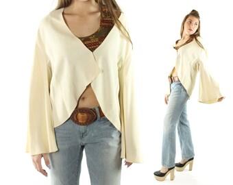 Vintage 40s 50s Jacket Bell Sleeves Ivory Rayon Bolero Blazer Long Sleeve Blouse 1940s 1950s Large L