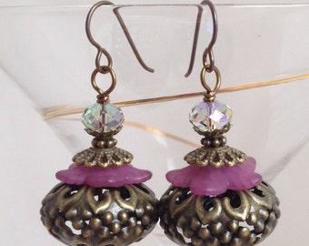Big brass filigree earrings