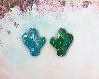 Cactus Sequin Brooch, Green Cacti Pin, Gold Bead Embroidery, Turquoise Botanical Jewelry, Succulent Plant Brooch, Kawaii Statement Brooch