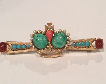 Unique Crown Brooch, Bar Brooch, Turquoise, Coral, Garnet Cabochons, Seed Pearls and Rhinestones , Vintage Brooch , Victorian, Edwardian