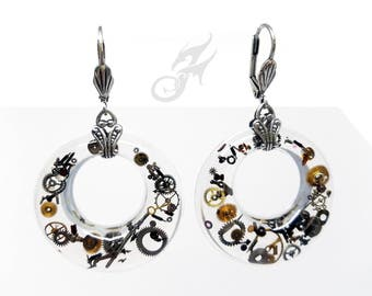Industrial STEAMPUNK Filled Hoop Earrings Gearrings, Resin Donuts w/ Gears & Watch Bits on Brass Leverback Earwires, Mod Steampunk, #E0895