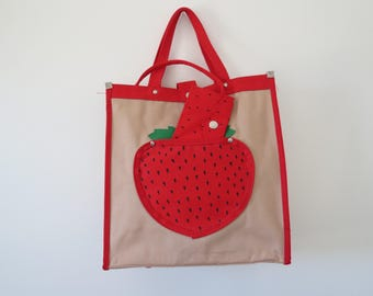 1970s Strawberry Totebag with attached Coin Purse